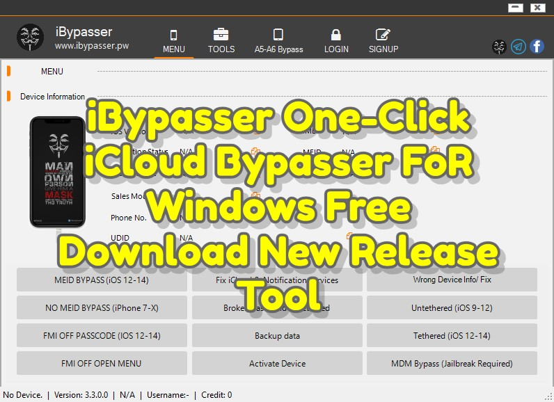 iBypasser 3.3 One-Click iCloud Bypasser FoR Windows Free Download New Release Tool