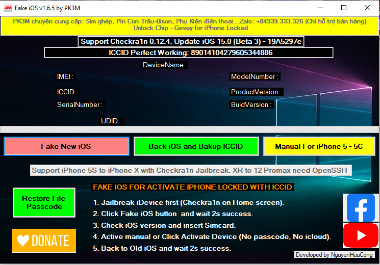 Fake IOS Tool by PK3M FREE FOR ALL USERS Free Download